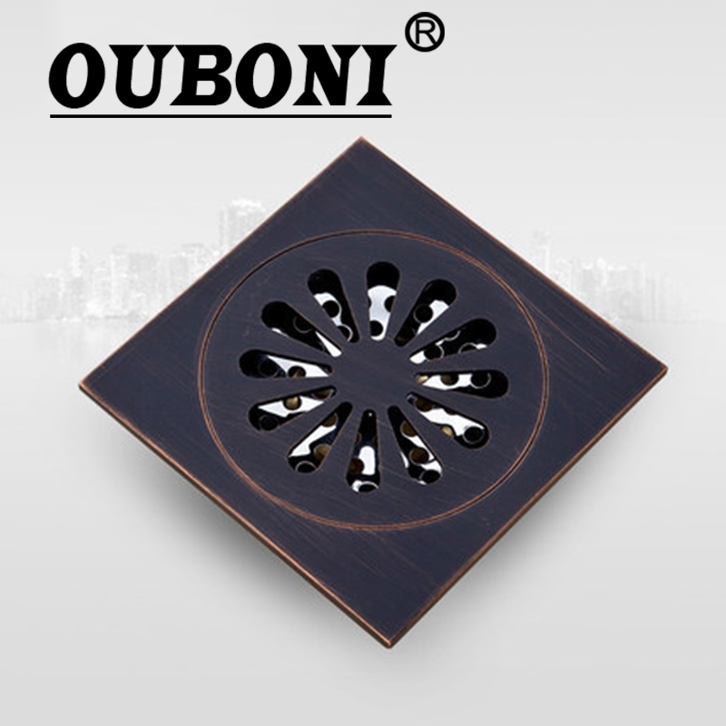 "OUBONI Oil Rubbed Black Bronze Flower 5382 Modern Exquisite Carved Floor Drain 4"" Square Shape Waste Drainer Floor Drain"