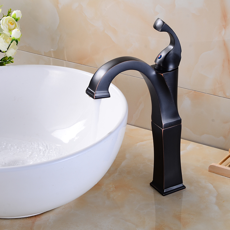MEIFUJU Bathroom Waterfall Basin Faucet Tall Stand Basin Mixer Black Oil Rubbed Bronze Basin Faucets Sink Mixer Tap Chrome