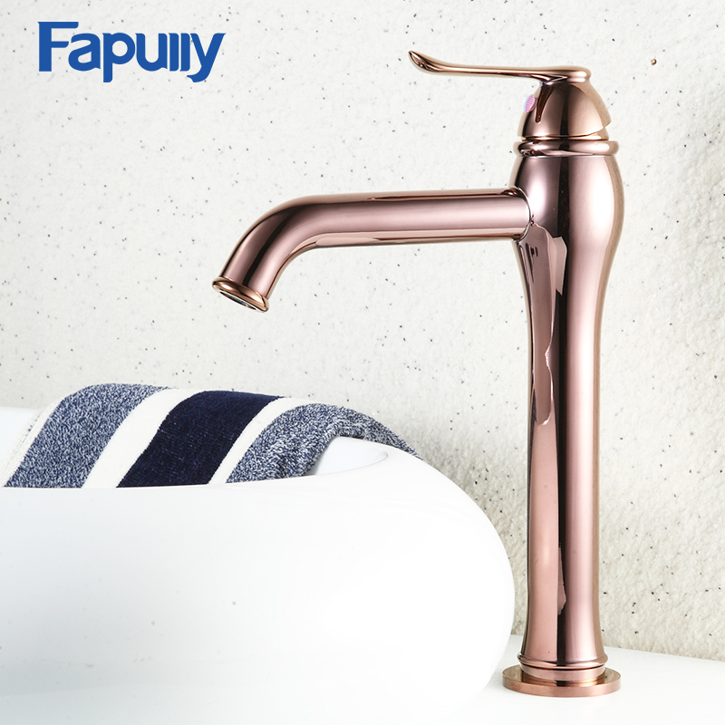 Fapully Water Tap Bathroom Basin Faucet Luxury Rose Gold Faucets Counter Top Lavabo Wash Basins Tall
