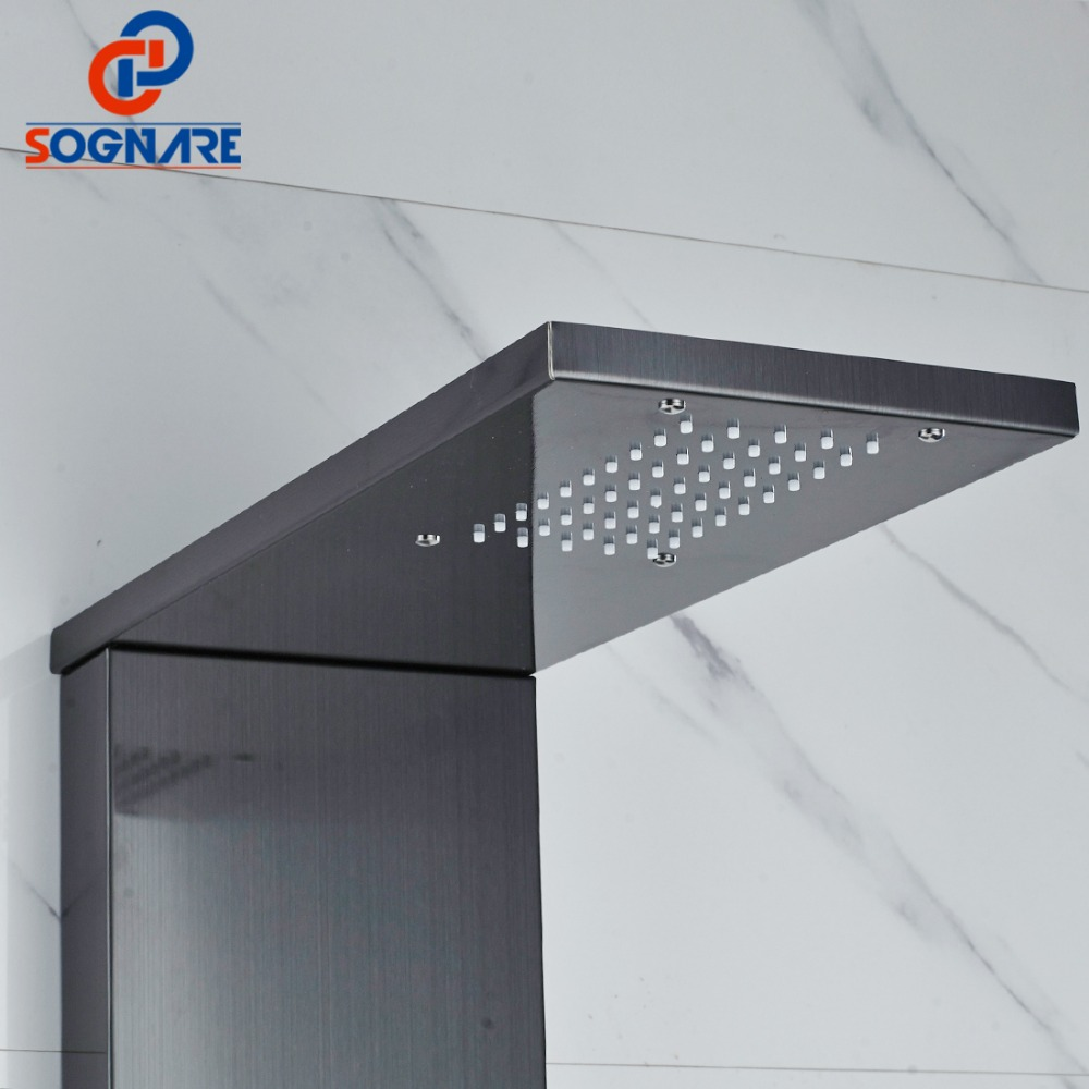 SOGNARE Shower Wall Panels Oil Rubbed Bronze Rain Waterfall Shower Panel Wall Mount Massage System Handshower Shower Column Set