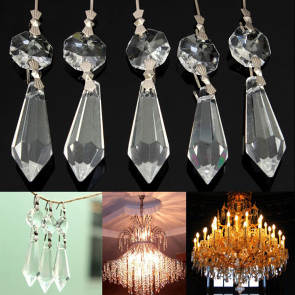 10Pcs/Pack Octagonal Bead Crystal Lamp Pendants Party Room Decoration Parts