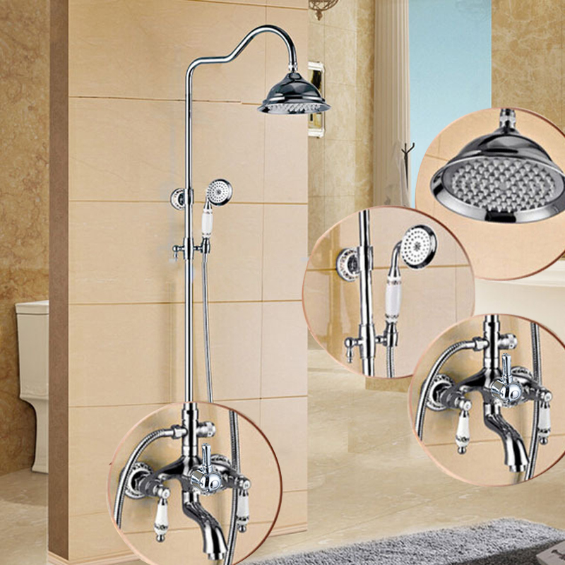 "Chrome In Wall Shower Set Faucet Brass Dual Ceramic Handles Bath Shower Mixer Taps 8"" Rainfall with Handshower"