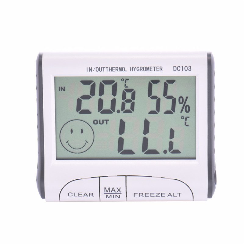Portable LCD Digital Thermometer Hygrometer Weather Station Clock Indoor Outdoor Function Including Probe