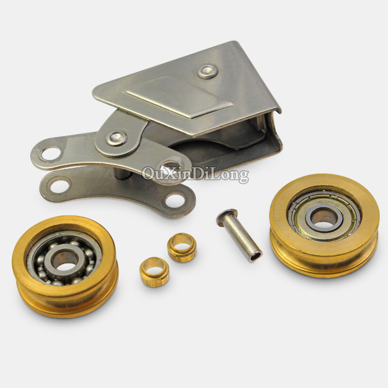 HOT 4PCS/lot 2008 Type Aluminum Alloy Sliding Door and Window Rollers Pulley Bearing Brass Wheel Sliding Door and Window Wheels