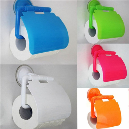 New 1PCS Fashion Paper Holder Roll Paper Tissue Box Sucker Toilet Paper Bathroom Wall Mounted Color Random