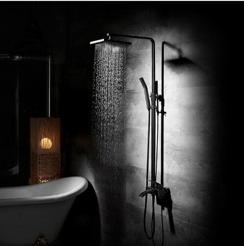 Luxury Bathroom Black Oil Brushed Square Rain Shower Set, Antique Shower Faucet Bath & Shower Faucet Set, Wall Mounted