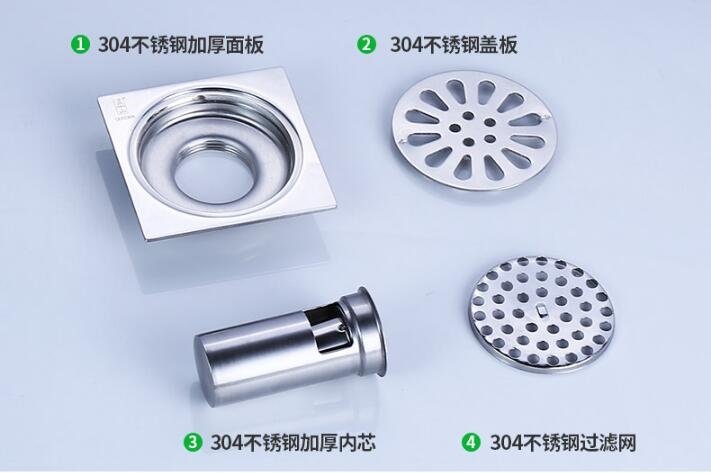 stainless steel waste floor drain,Shower Square Bathroom Floor Drain Cover,100mm floor drain