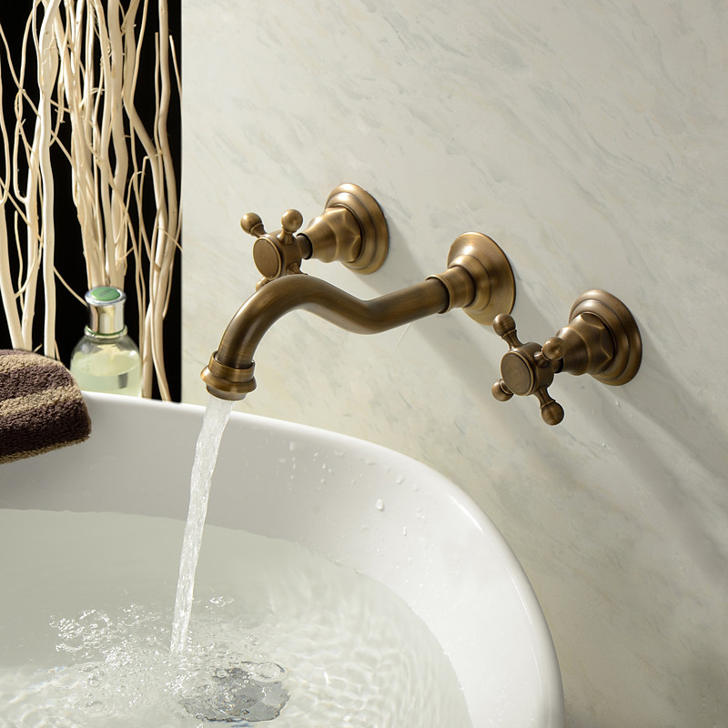Wholesale and Retail Antique Brass Bathtub Mixer Taps 3 pcs Basin Dual Handles Hot and Cold Wall Mounted Basin Faucet BF1013
