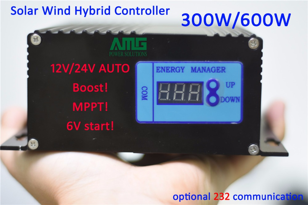 300W/600W 12V/24V auto swtich recognizing  solar wind boost booster type mppt hybrid charger controller with 232 communication