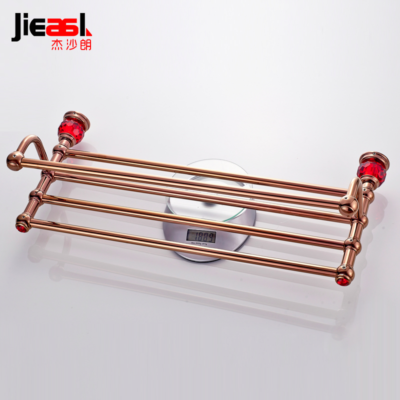 Jieshalang Brass Bathroom Towel Rack Double  Crystal Towel Racks  Bathrooms Towel Holder Gold Rose Bathroom Accessories 7005