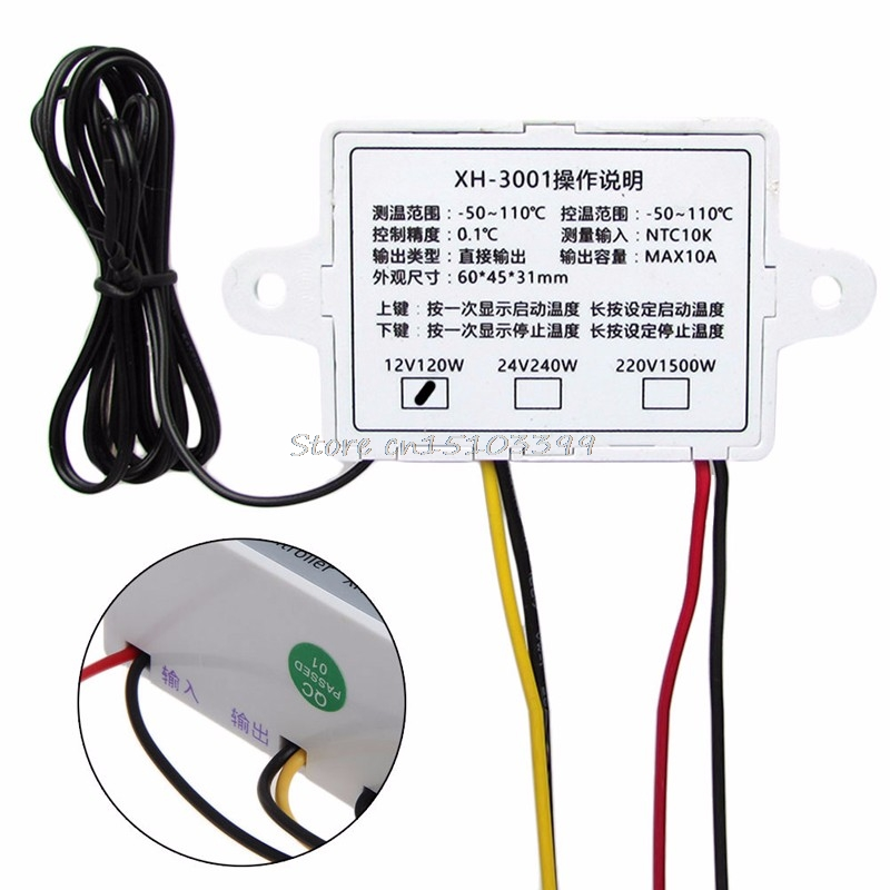 XH-W3001 12V Digital Control Temperature Microcomputer Thermostat Switch Thermometer Thermoregulator