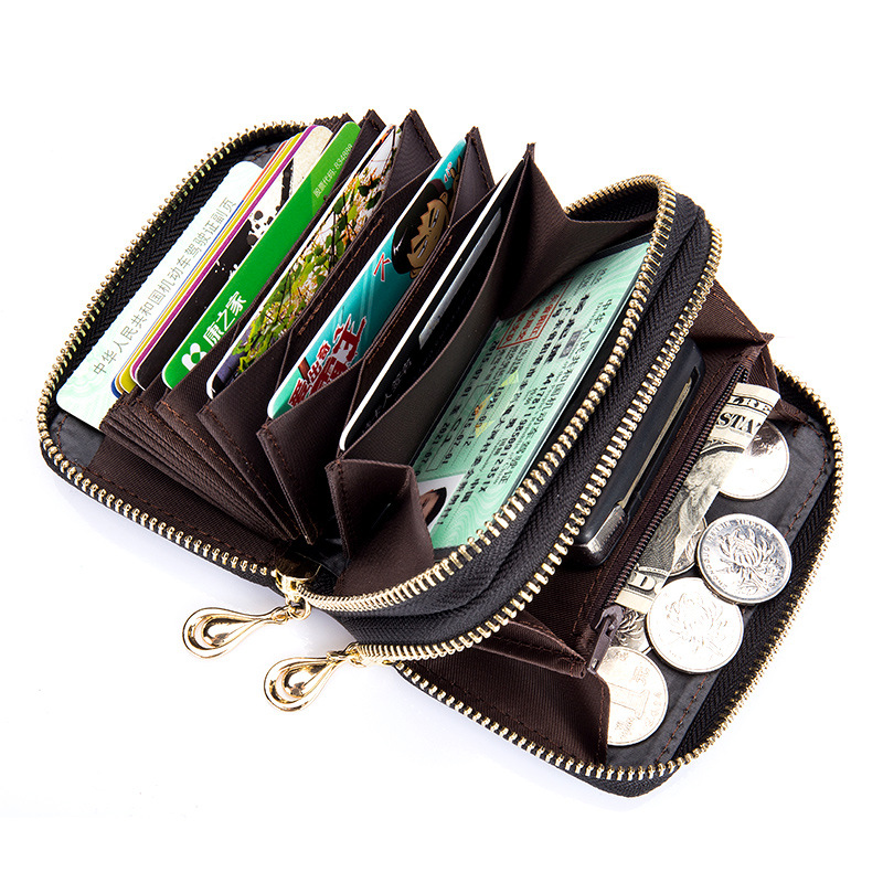 2017 new style Casual fashion Simple genuine leather RFID double zip Multi  Card slot women card bag coin purse Credit card bag