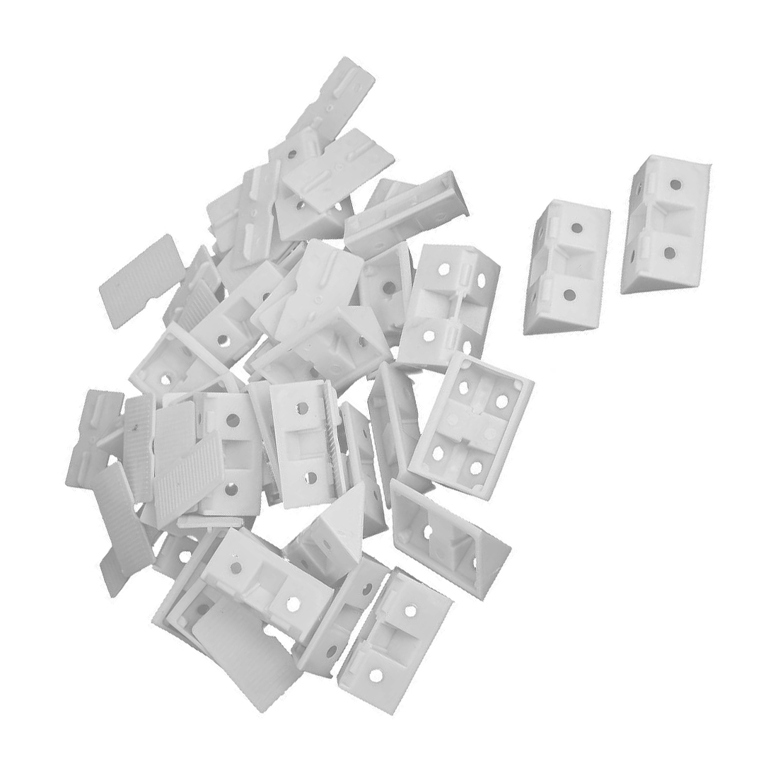 30pcs Shelf Cabinet 90 Degree Plastic Corner Braces Angle Brackets White