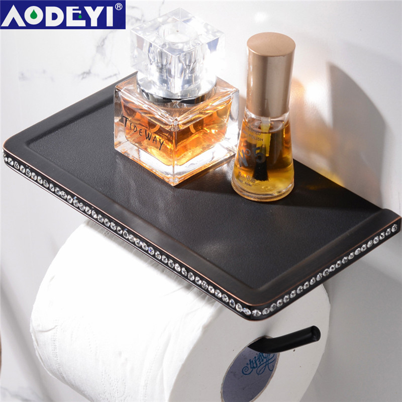 AODEYI  24K Gold ORB Chrome & Crystal Wall Mounted Toilet Paper Holder Bathroom Fixture Roll Paper Holders With Phone Shelf