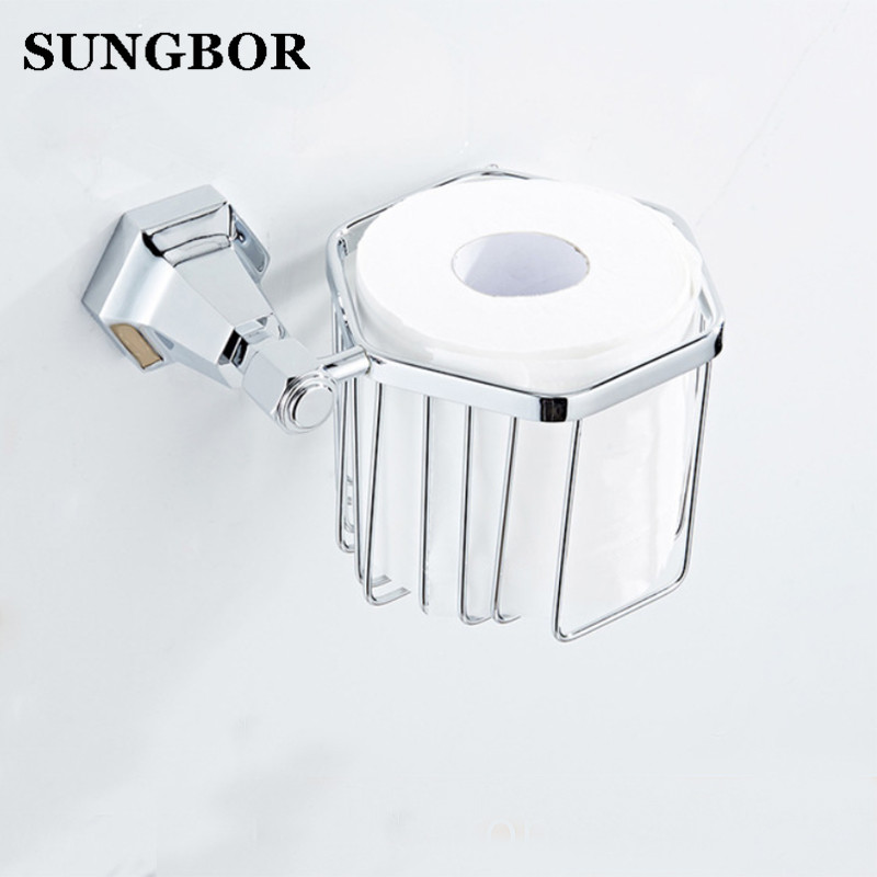 Wall Mounted Golden Gold Color Brass Bathroom Toilet Paper Roll Holder Tissue Basket Holder Bathroom Accessory LM-62207K