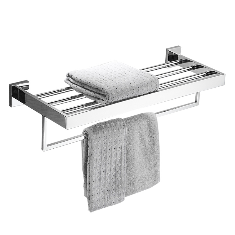 Hotel Square 304 Stainless Steel Bath Towel Rack Polished Wall Mounted Bathroom Double Layer Towel Holder bathroom hardware set