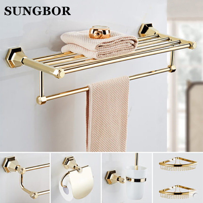 European Gold Copper Antique Bathroom Towel Rack Shelf Gold-plated Towel Holder Fixed Wall Mounted Bathroom Products LM-62212K