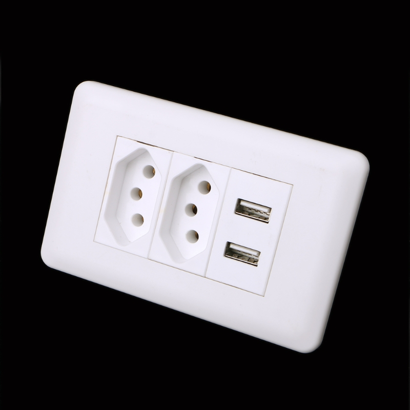 1Pc 15A WallDouble Standard Power Socket Adapter Dual Ports USB Charger Panel 5V 2.1A