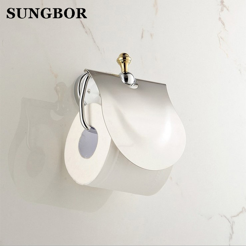Toilet Paper Holder Solid Brass Golden Chrome Finish Diamond Decoration Roll Holder Tissue Holder Bathroom Accessories TL-5208K