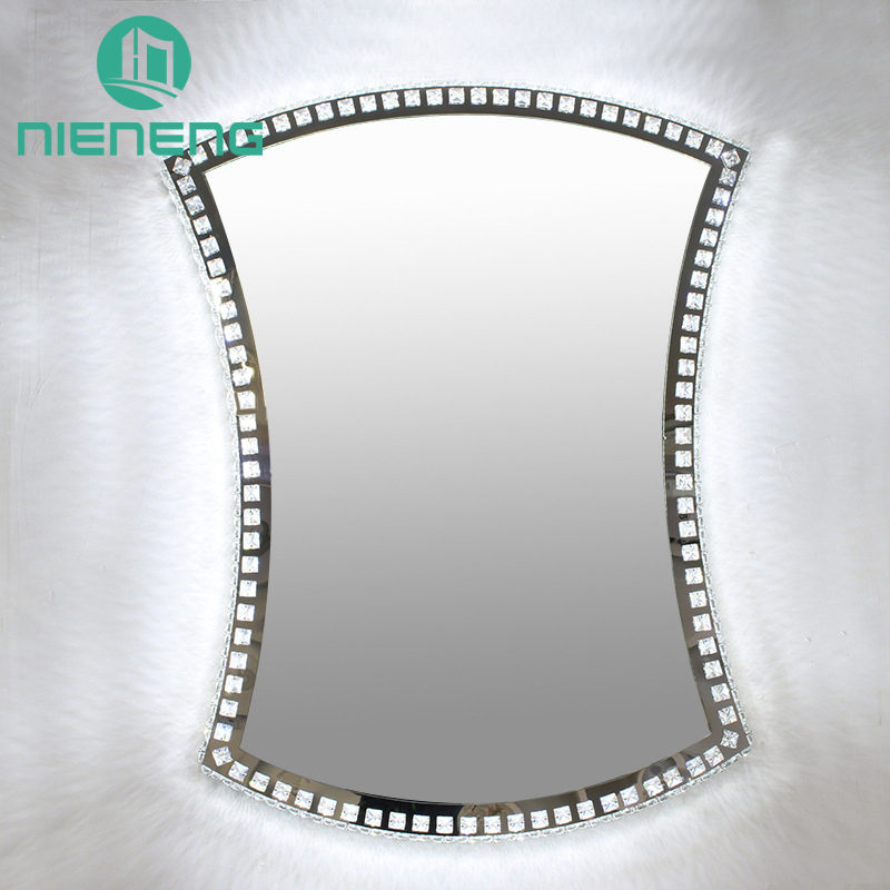 Nieneng Illuminated Demist Lighted Vanity Make up Heated Mirror Bathroom Makeup LED Light Mirror Dimmer Defogger Silver ICD90111