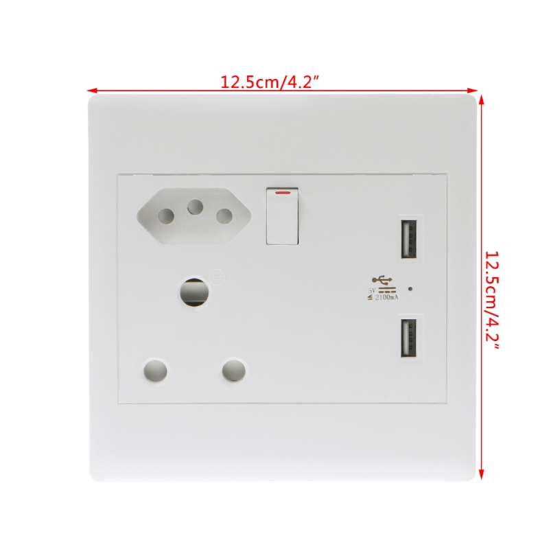 1Pc WallPower Socket Adapter Dual USB Ports Charger Panel Plug for South Africa Brazil