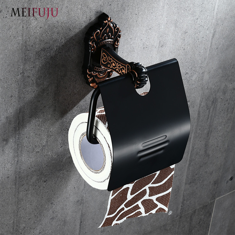MEIFUJU Vintage Toilet Paper Holder Antique Black Toilet Tissue Holder Aluminum Wall Roll Holders Bathroom Accessories Bronze