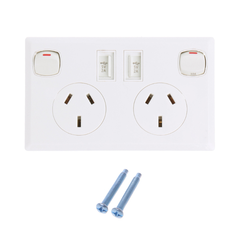 1Pc WallSocket Dual USB Ports AU Standard Power Adapter Double Plug Charger Panel