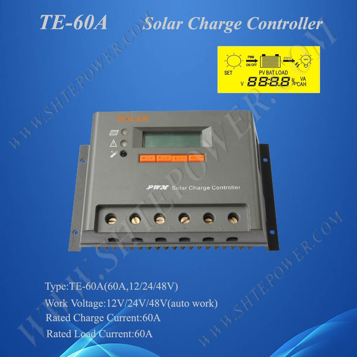 12V 24V 48V auto work Solar Panel Charge Regulator 60A, 2 Years Warranty