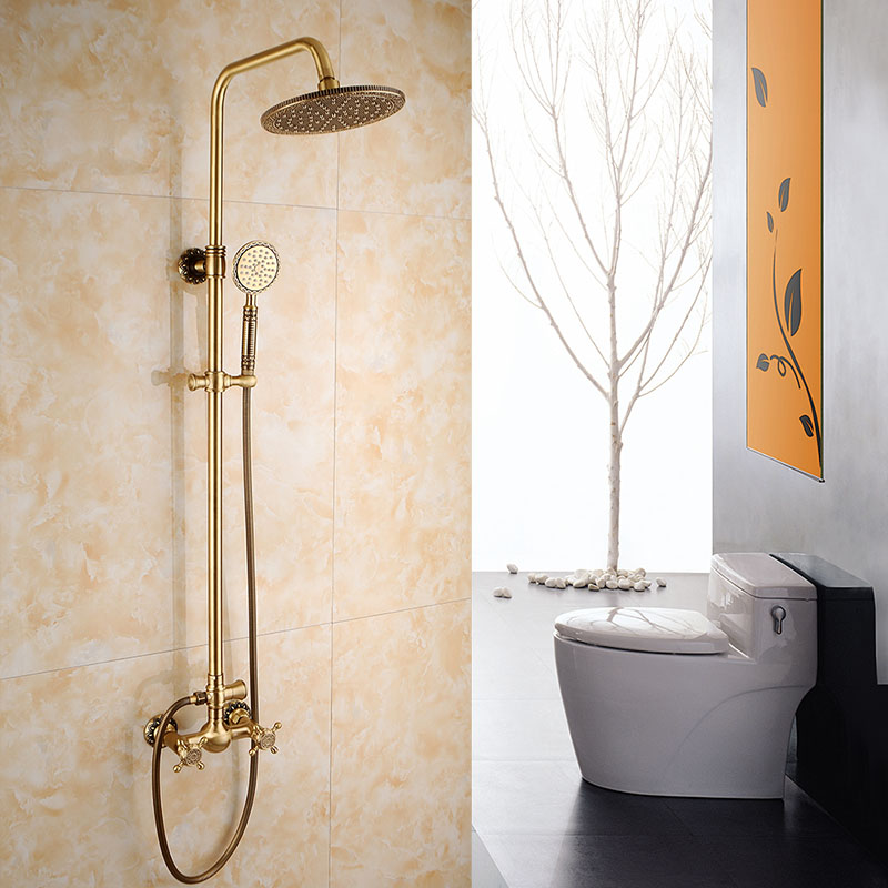 Antique Brass Wall Mount Rain Fall Bathroom Shower Faucet 8 Inch Shower Head Arm Shower Set Mixer With Handy Unit Tap