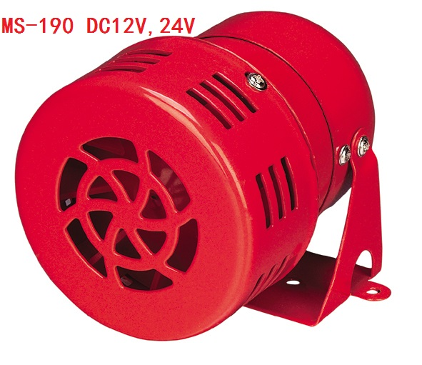 MS-190 12V 24V 220V Red Metal Housing Motor Driven Siren for Security System