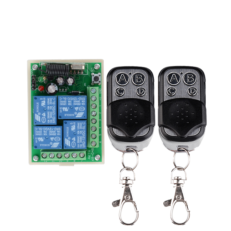 RF Wireless Remote Switch Control Lighting Switch 12V 4Channels (4 Relays)1 Receiver & 2Transmitters Toggle /Latched /Momentary