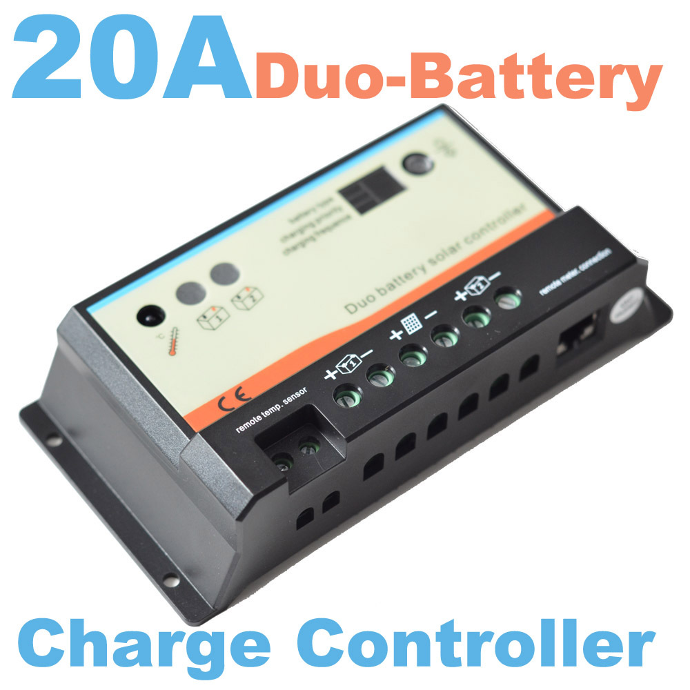 20A daul battery Solar Charge Controller duo-battery charge controller 12V 24V solar panel battery charger for RV Boats Golf