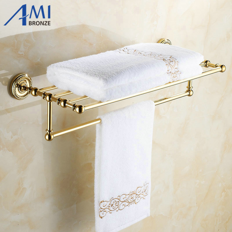 Wall Mounted Golden Polished Bathroom Accessories Towel Rack, Tower Bar