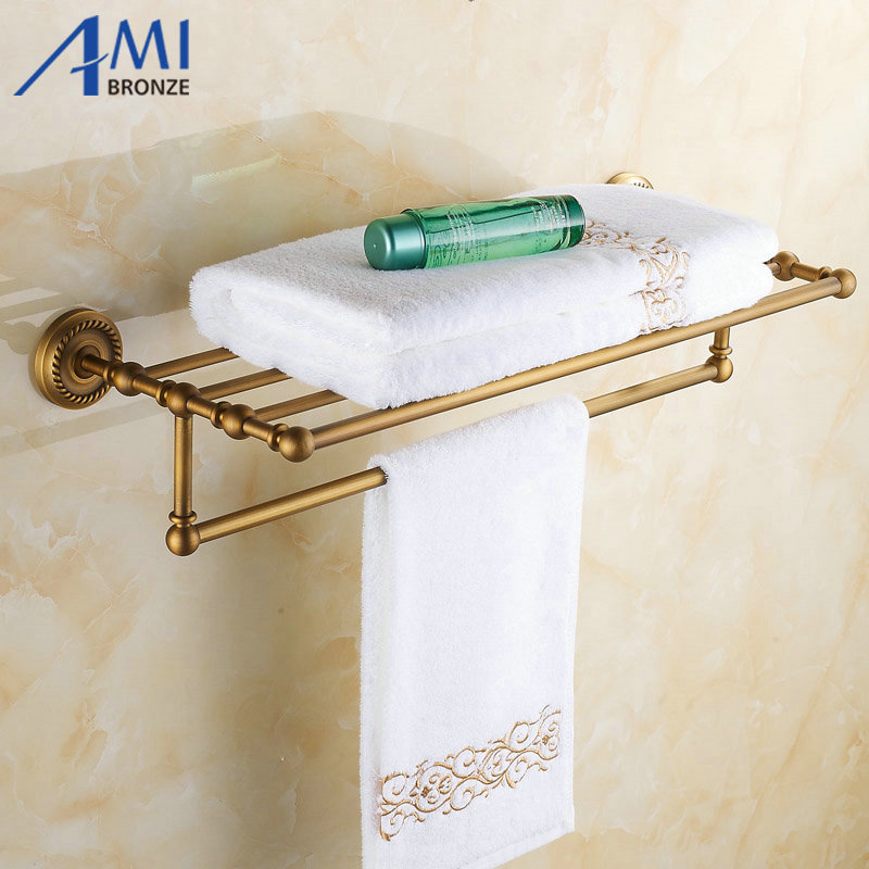 AB1 Series Wall Mounted Antique Brass Finish Bathroom Accessories Towel Racks Towel Shelf