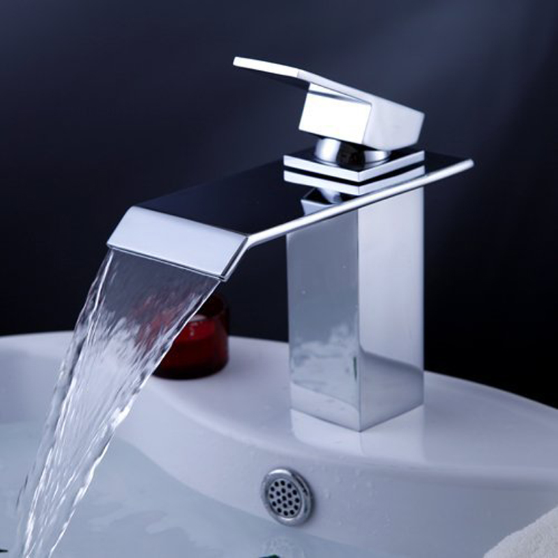 BAKALA Basin Faucets Waterfall Faucet Single Handle Basin Hot and Cold Mixer Bathroom Tap Sink Chrome Finish LT-504