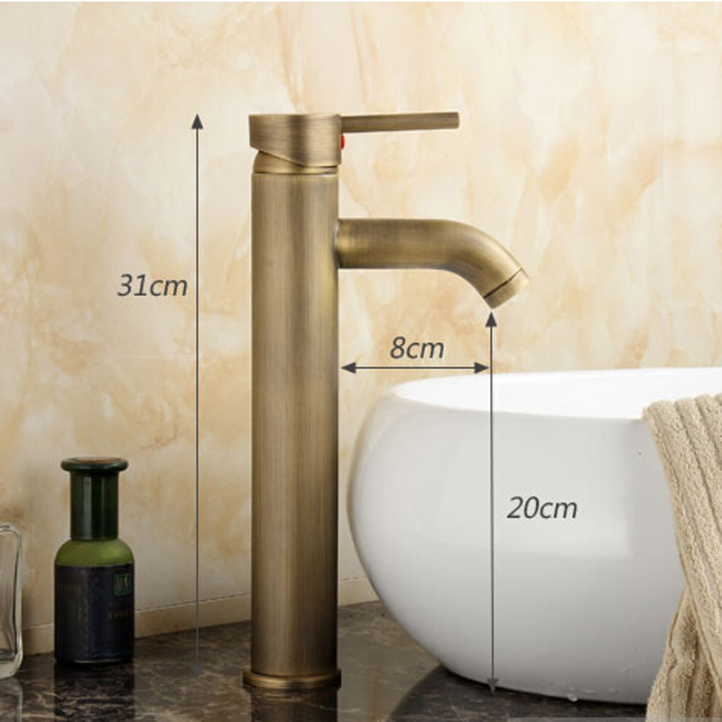 Contemporary Concise Bathroom Faucet Antique bronze finish Brass Basin Sink Faucet Single Handle water taps GZ8011