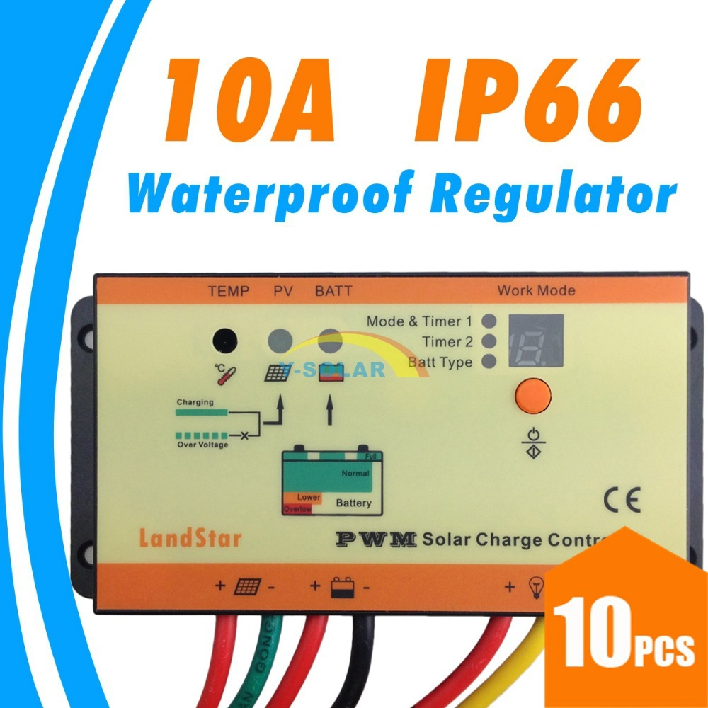 10pcs/Lots!10A solar Charge controller IP66 waterproof dual timer control with light control 12V 24V battery charge regulator