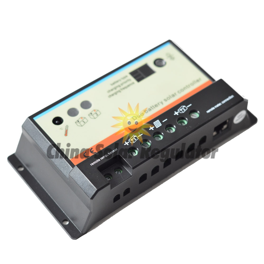 10pcs/lots 10A daul battery Solar Charge Controller duo-battery charge controller 12V 24V