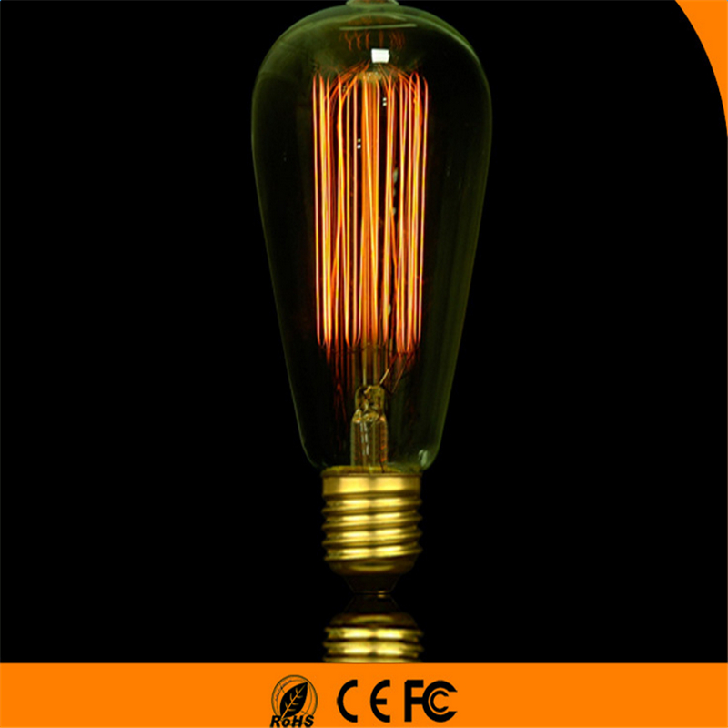Glow Light Bulb Handmade Lamps Carbon Filament Clear GlassS Incandescent Bulb 40W/60W 220V E27 T185 Incandescent Bulbs Industrial Electrical