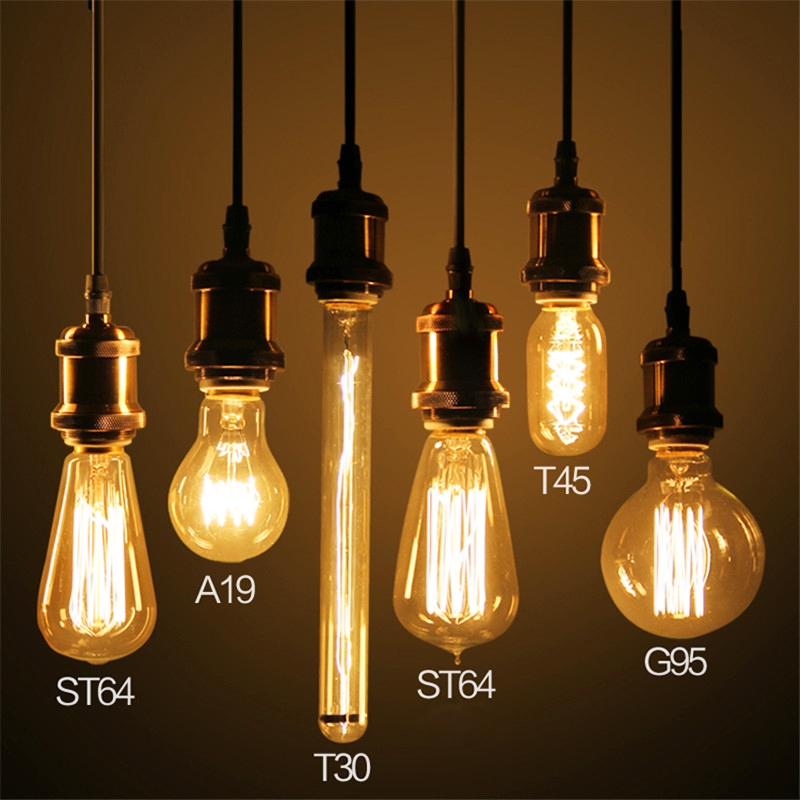 Antique  Vintage Retro Creative Edison Bulb Incandescent Light Bulbs 220V 40W E27 Carbon Filament Bulb ST64 G95 A19 T45 Lighting