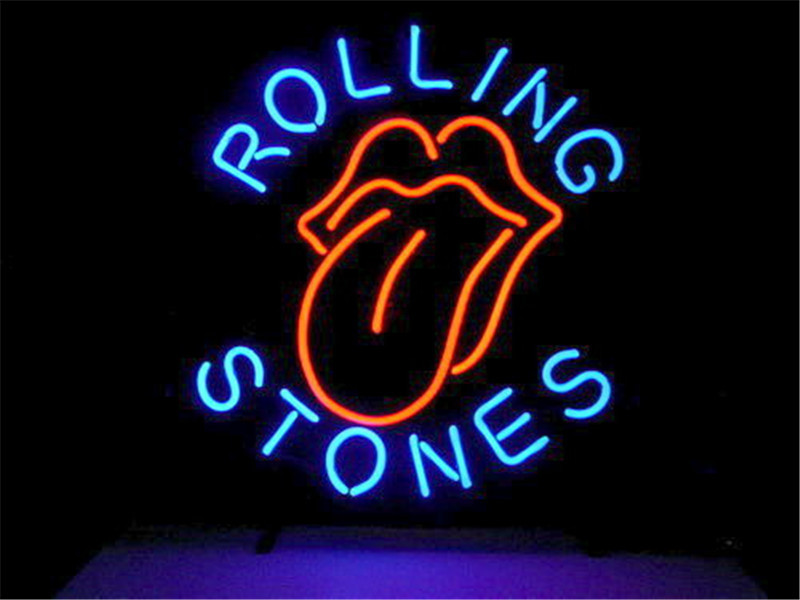NEON SIGN For ROLLING STONES SIGN Signboard REAL GLASS BEER BAR PUB  display   christmas Light Signs 17*14""