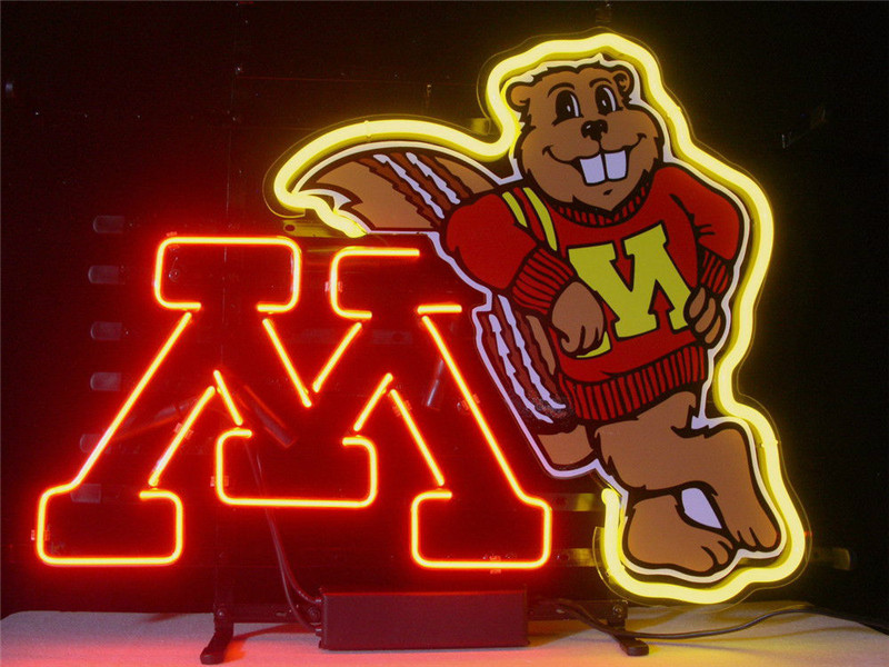 NEON SIGN For  NEW MINNESOTA GOLDEN GOPHERS  Signboard REAL GLASS BEER BAR PUB  display  christmas Light Signs 17*14""