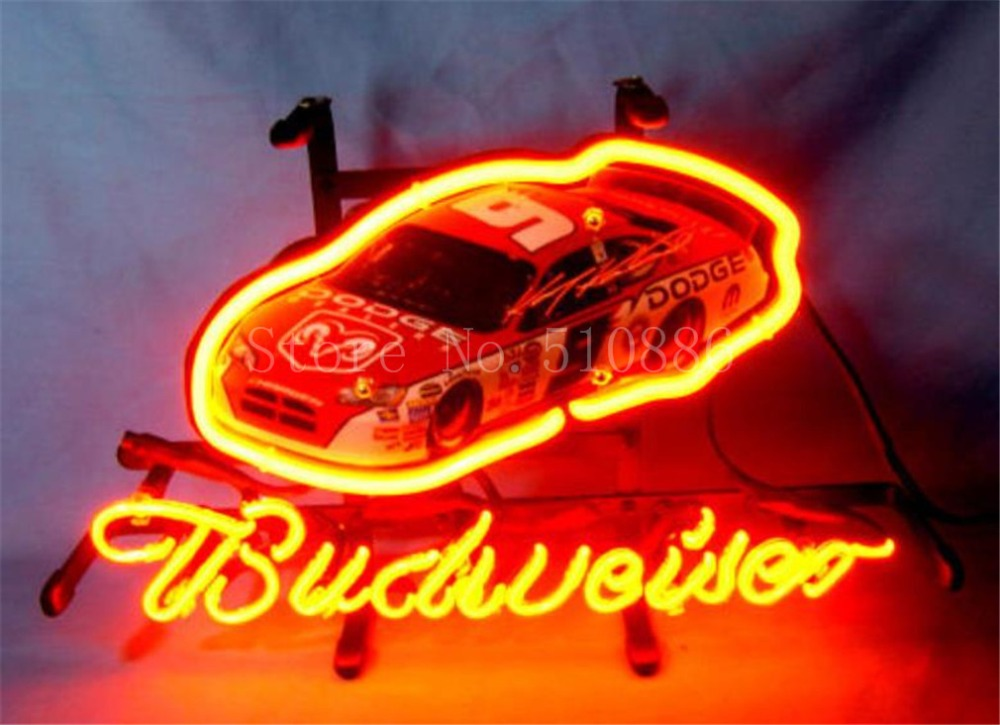 NEON SIGN board For Budweiser Autographed Nascar #9 Racing Car GLASS Tube BEER BAR PUB  store display  Shop Light Signs 17*14""