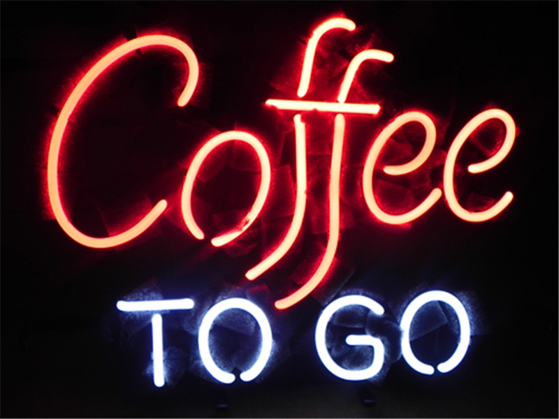 NEON SIGN For COFFEE TO GO    Signboard REAL GLASS BEER BAR PUB  display  RESTAURANT outdoor Light Signs 17*14""