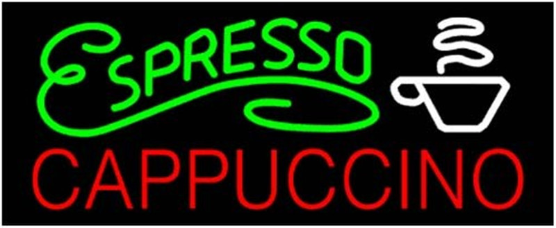 NEON SIGN For ESPRESSO CAPPUCCINO  SIGN Signboard REAL GLASS BEER BAR PUB  display Restaurant  outdoor Light Signs 17*14""