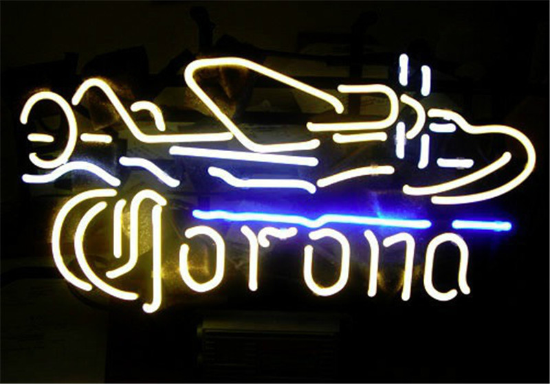 03504d72e552a4 NEON SIGN For CORONA PLANE Signboard REAL GLASS BEER BAR PUB display  RESTAURANT outdoor Light Signs