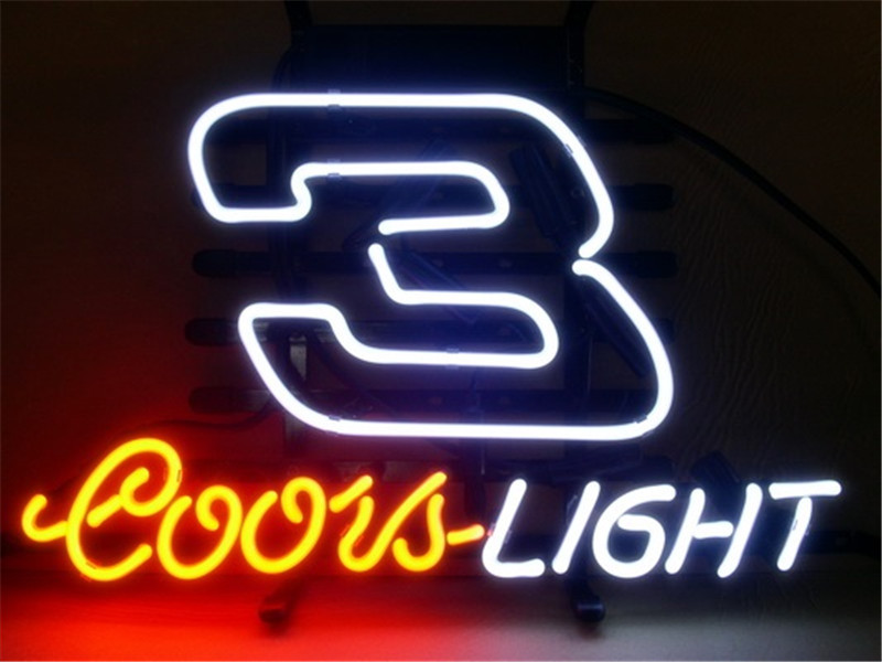 NEON SIGN For COORS LIGHT NASCAR #3 DALE EARNHARDT Signboard REAL GLASS BEER BAR PUB  display   Shop outdoor Light Signs 17*14""