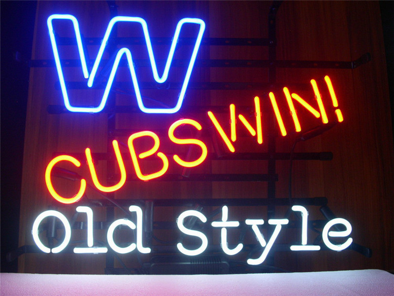 0775fa70d36325 NEON SIGN For CHICAGO CUBS WIN W OLD STYLE Signboard REAL GLASS BEER BAR  PUB display