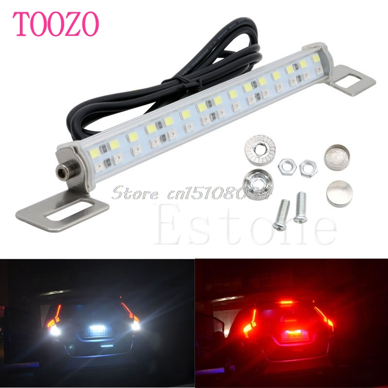 Car 30 LED 18W Light Bar Brake Tail Reverse Rear License Plate Lamp Red & White #S018Y# High Quality