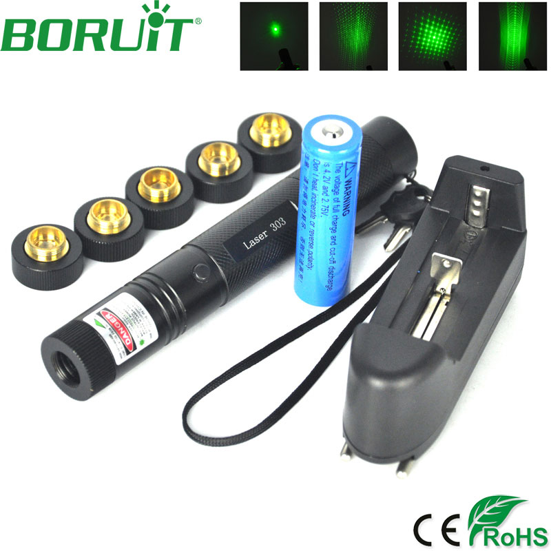 Boruit Military 532nm 5mw 303 Green Laser verde Pen Lazer Pointer Burning Beam Burn Match with 18650 Battery and Charger